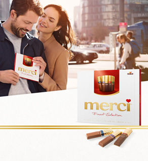 Thank you means merci. Today, in more than 100 countries all over the world, people say thank you with merci.